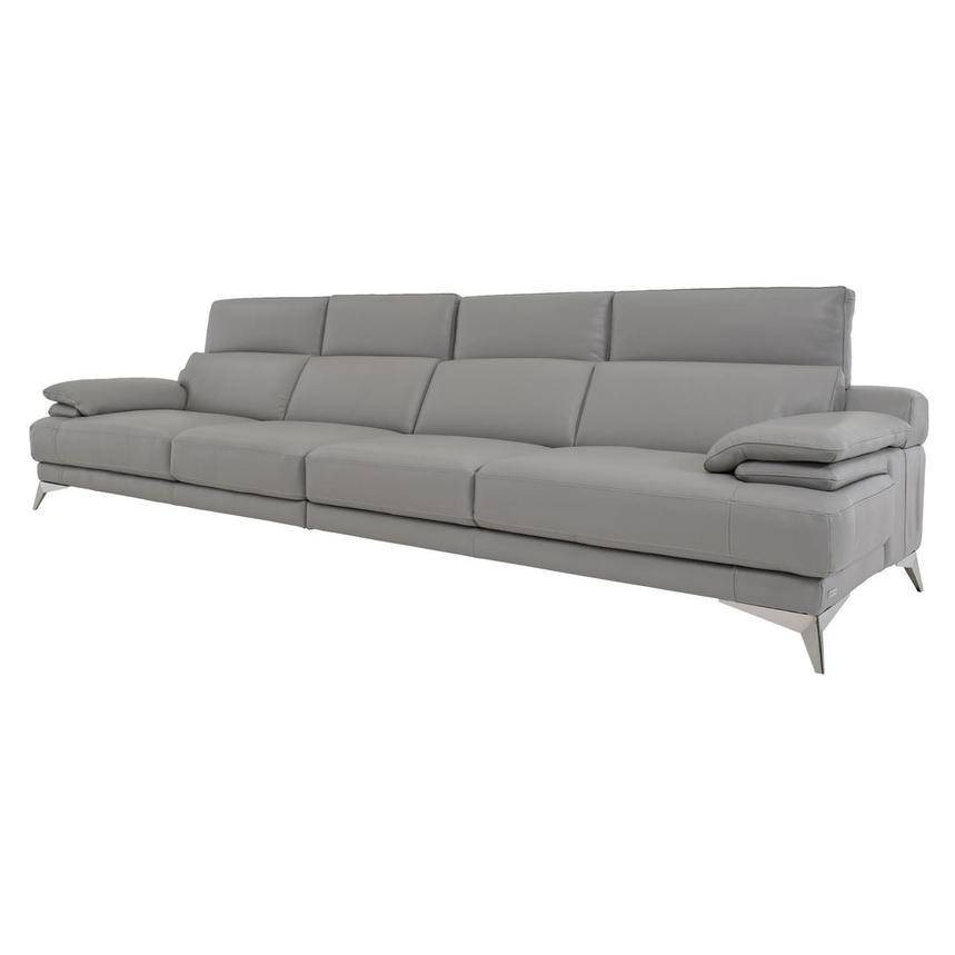 Idris Grey Oversized Leather Sofa  alternate image, 3 of 7 images.