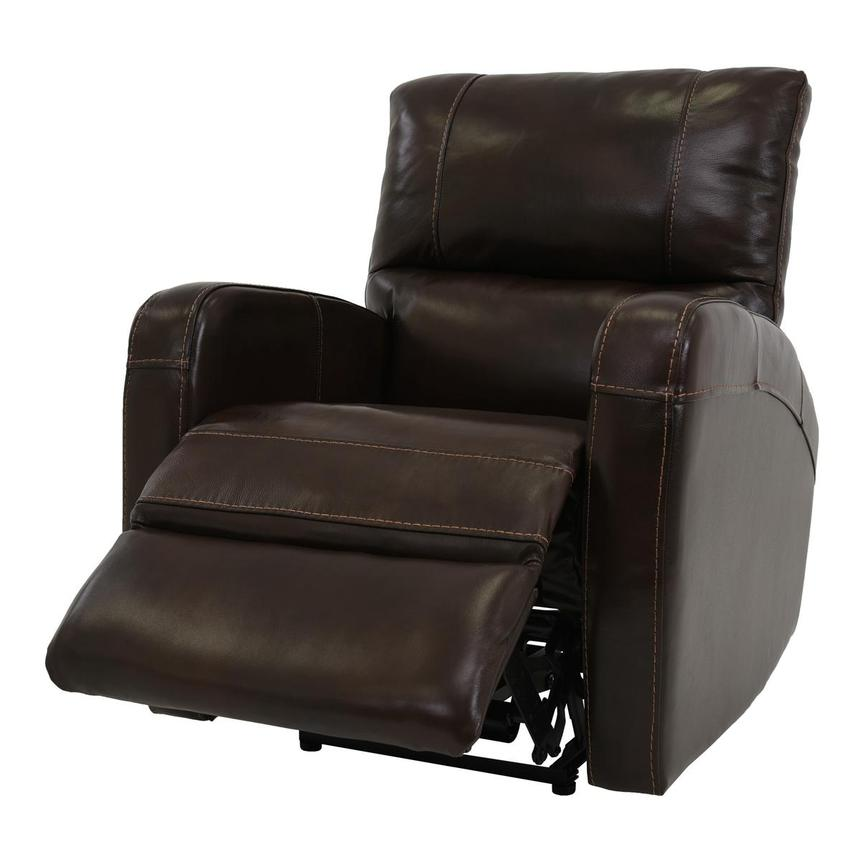 Keegan Chocolate Power Motion Leather Recliner  alternate image, 3 of 7 images.