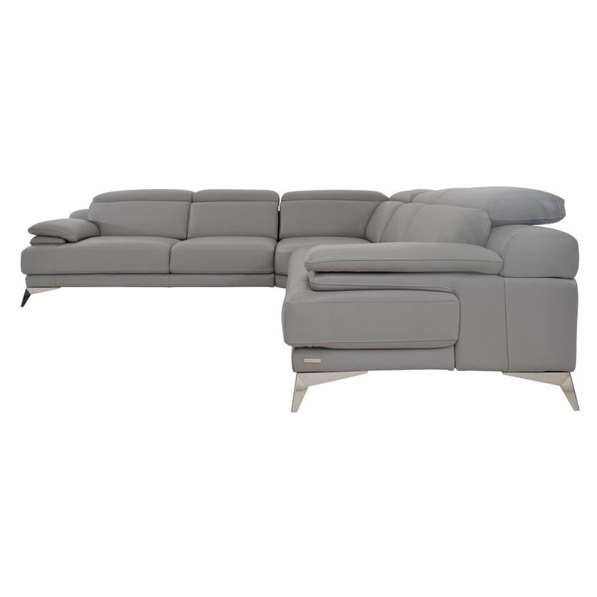 Idris Grey Leather Sectional Sofa