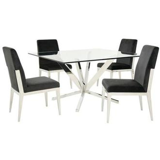Ghettys I/Met Dark Gray 5-Piece Formal Dining Set