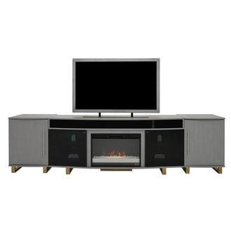 Enterprise Gray Faux Fireplace w/Speakers