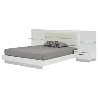 Ally White King Platform Bed w/Nightstands