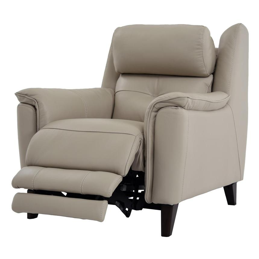 Mayte Cream Power Motion Leather Recliner  alternate image, 3 of 7 images.
