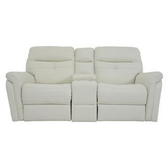 Zane Cream Power Motion Leather Sofa w/Console