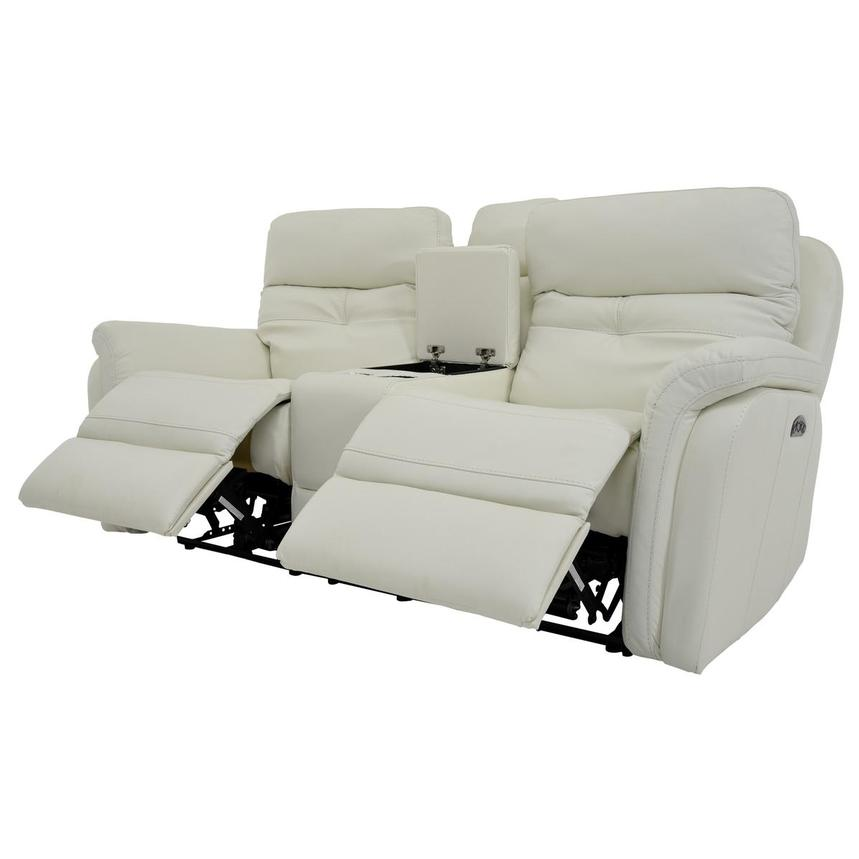 Zane Cream Power Motion Leather Sofa w/Console  alternate image, 3 of 10 images.