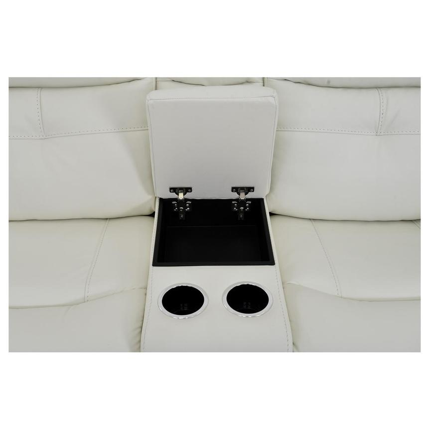 Zane Cream Power Motion Leather Sofa w/Console  alternate image, 9 of 10 images.