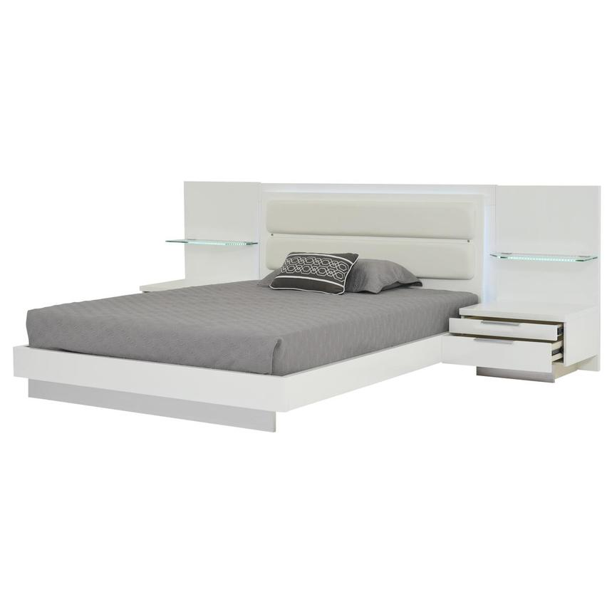 Ally White Queen Platform Bed w/Nightstands  alternate image, 3 of 17 images.