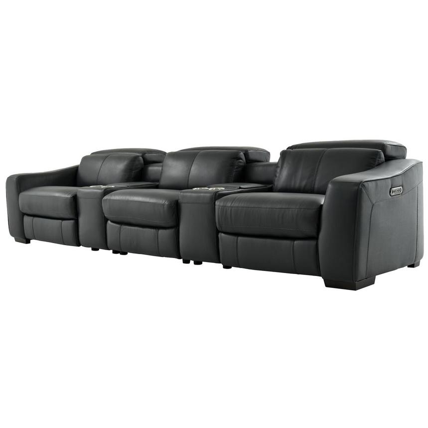 Jay Dark Gray Home Theater Leather Seating  alternate image, 3 of 10 images.