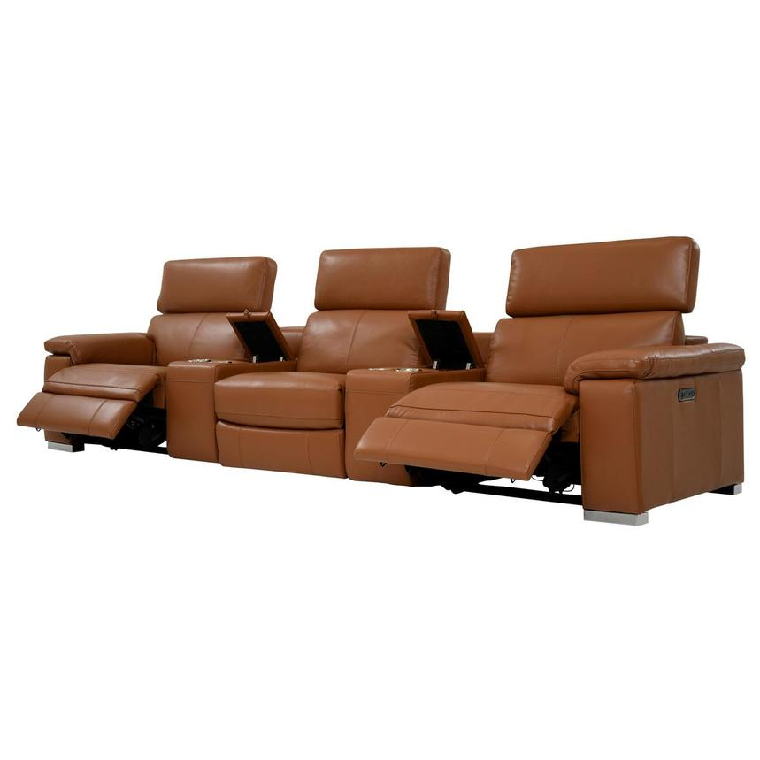 Charlie Tan Home Theater Leather Seating  alternate image, 3 of 11 images.