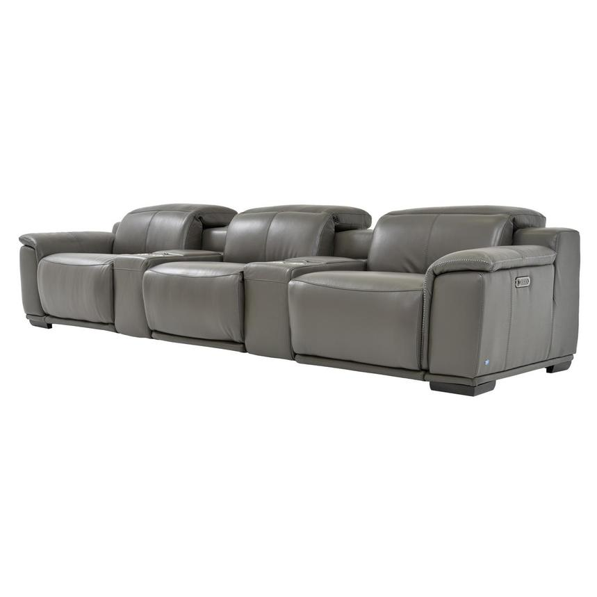 Davis 2.0 Dark Gray Home Theater Leather Seating  alternate image, 3 of 10 images.