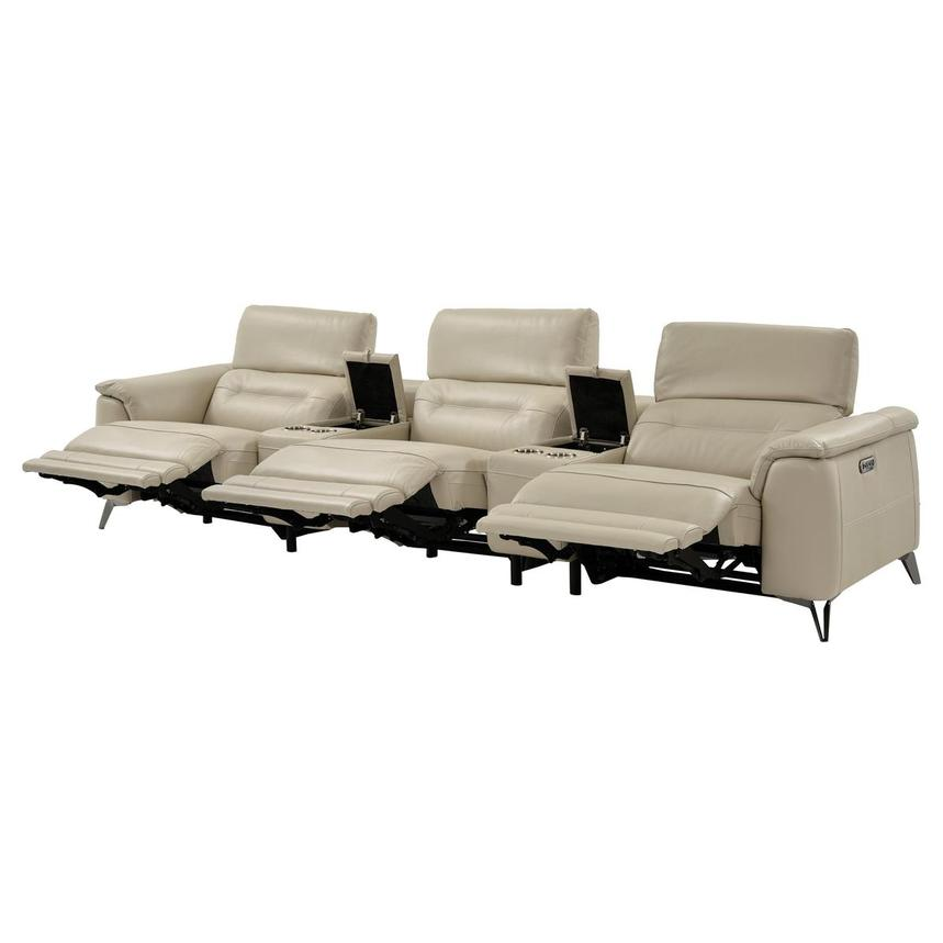 Anabel Cream Home Theater Leather Seating  alternate image, 8 of 14 images.