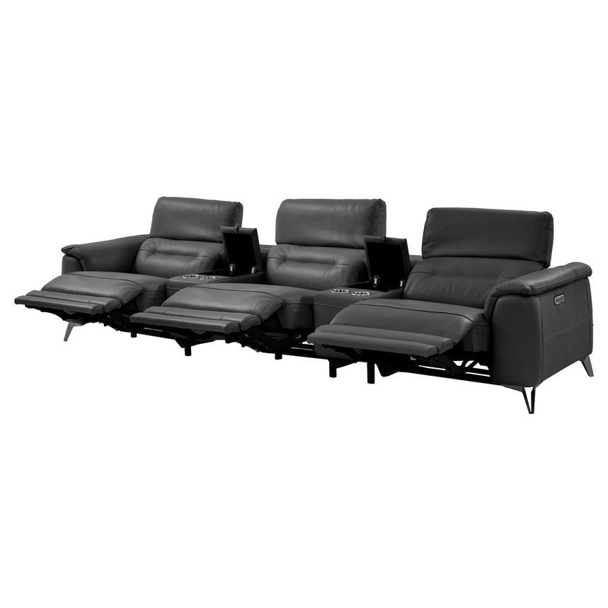 Anabel Gray Home Theater Leather Seating  alternate image, 3 of 9 images.