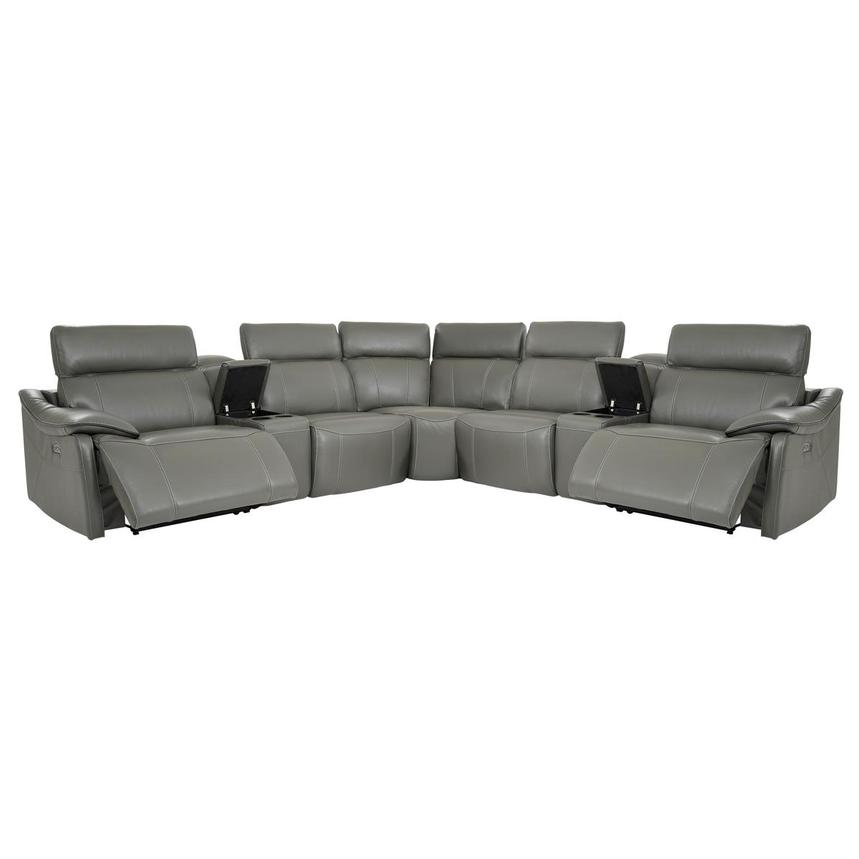 Austin Dark Gray Leather Power Reclining Sectional  alternate image, 3 of 11 images.