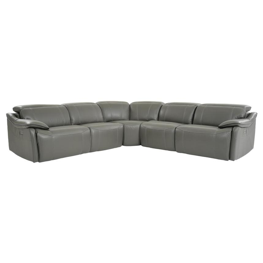 Austin Dark Gray Leather Power Reclining Sectional  main image, 1 of 9 images.