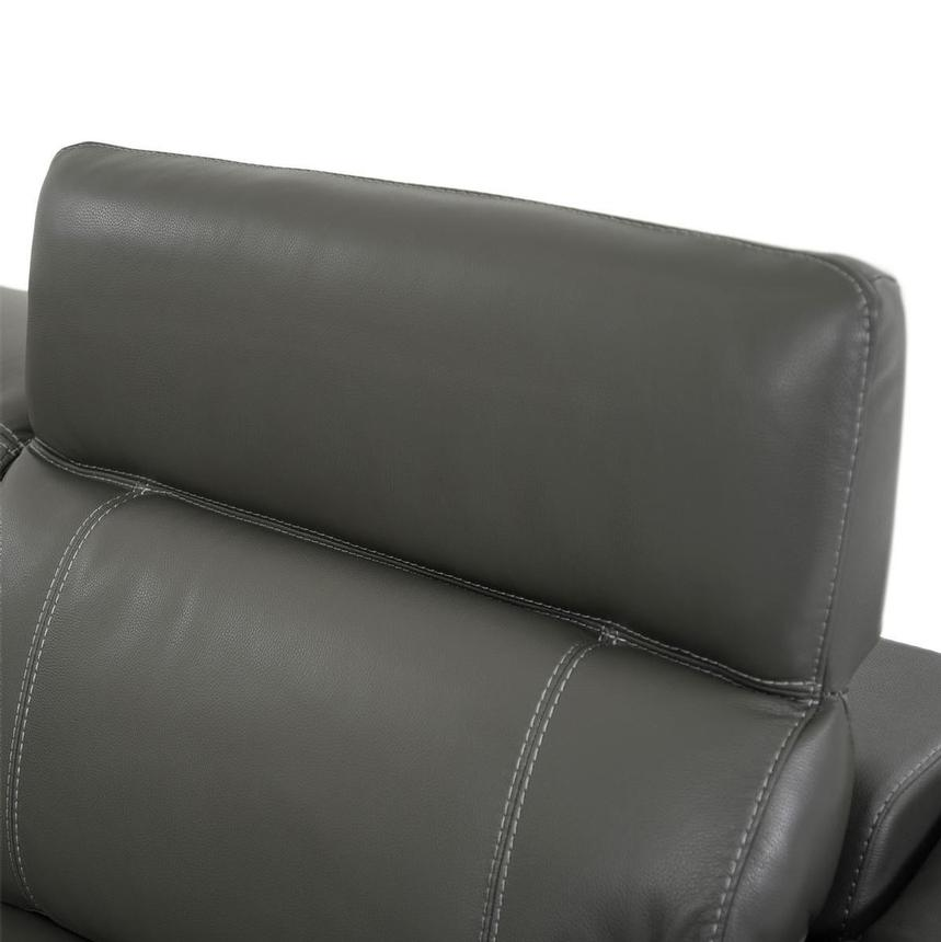 Austin Dark Gray Leather Power Reclining Sectional  alternate image, 6 of 9 images.