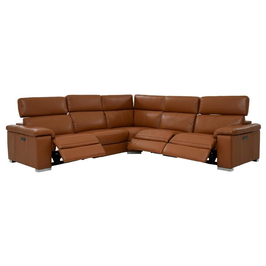 Charlie Tan Leather Power Reclining Sectional  alternate image, 2 of 10 images.