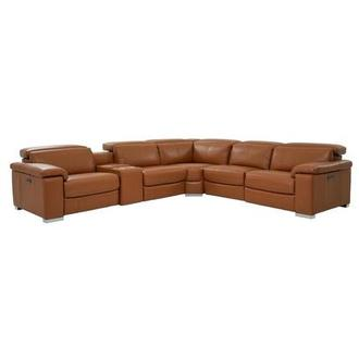 Charlie Tan Leather Power Reclining Sectional