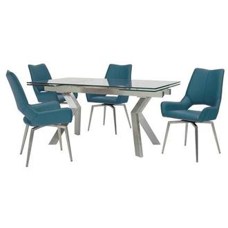 Lynne Clear/Kalia Blue 5-Piece Formal Dining Set