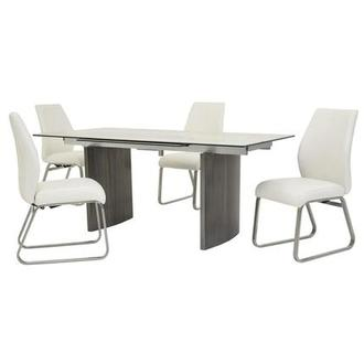 Rome White 5-Piece Formal Dining Set