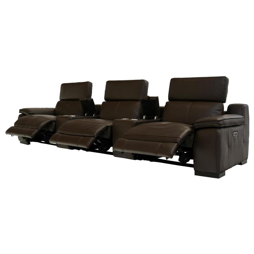 Gian Marco Brown Home Theater Leather Seating  alternate image, 3 of 8 images.