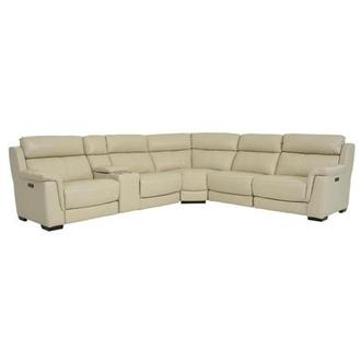 Amanda Cream Power Reclining Leather Sofa
