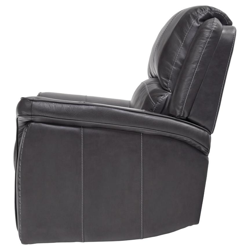 Raleigh Gray Power Motion Leather Recliner  alternate image, 4 of 9 images.