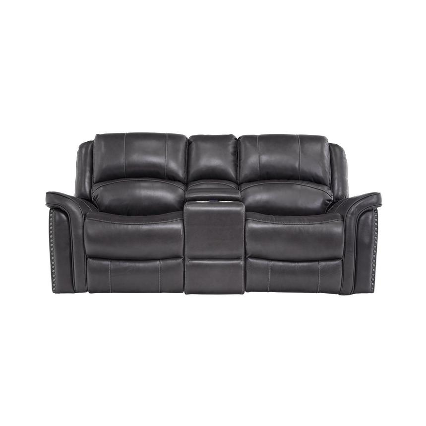 Raleigh Gray Leather Reclining Sofa W Console