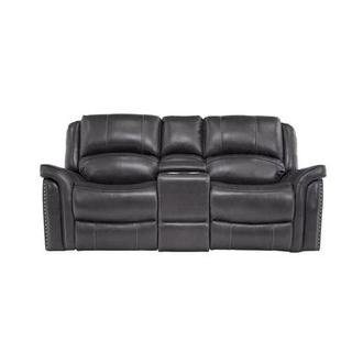 Raleigh Gray Leather Power Reclining Sofa w/Console
