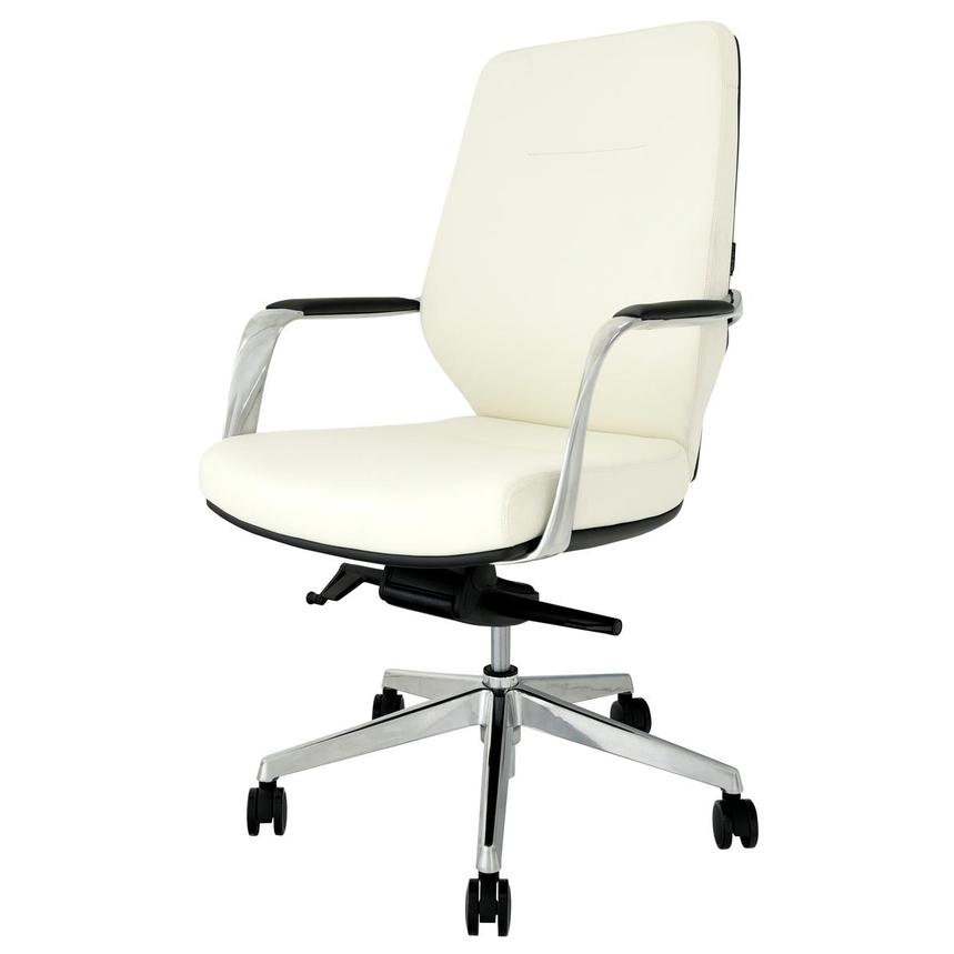 Yoshi White Low Back Desk Chair  alternate image, 3 of 8 images.