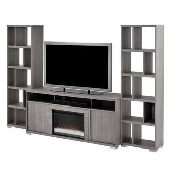 Tivo Gray Wall Unit w/Speaker & Faux Fireplace Made in Italy