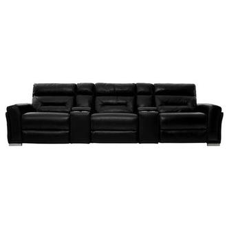 Kim II Black Home Theater Leather Seating