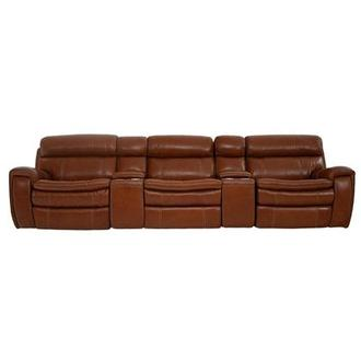 Napa Tan Home Theater Leather Seating w/Right & Left Recliners