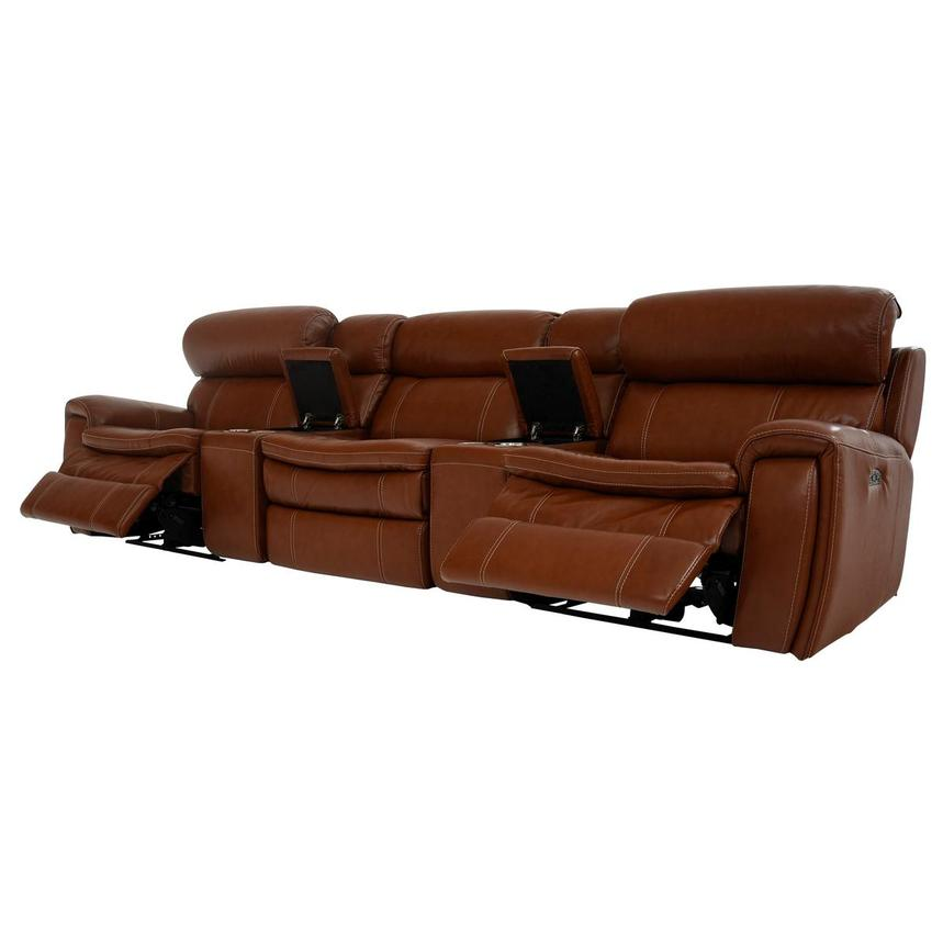 Napa Tan Home Theater Leather Seating  alternate image, 3 of 10 images.
