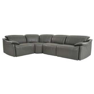 Austin Dark Gray Leather Power Reclining Sectional