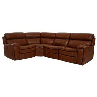 Napa Tan Power Motion Leather Sofa w/Right & Left Recliners