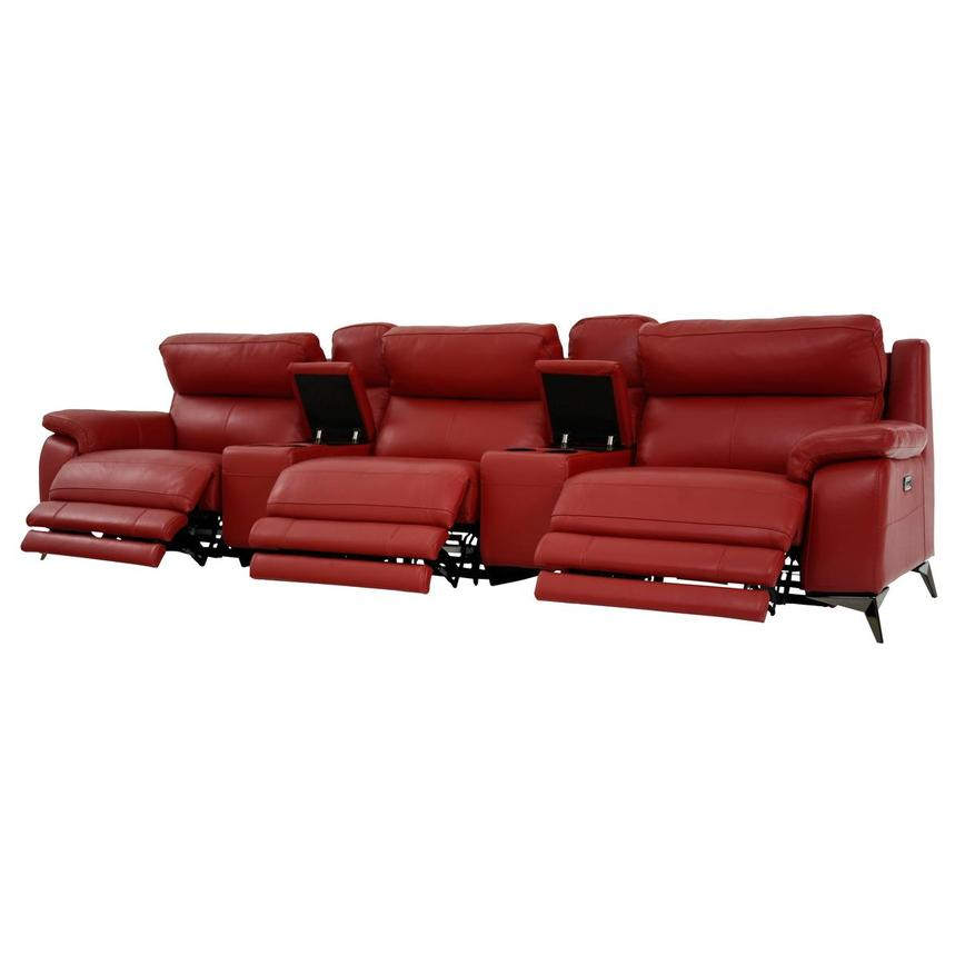Barry Red Home Theater Leather Seating  alternate image, 3 of 11 images.