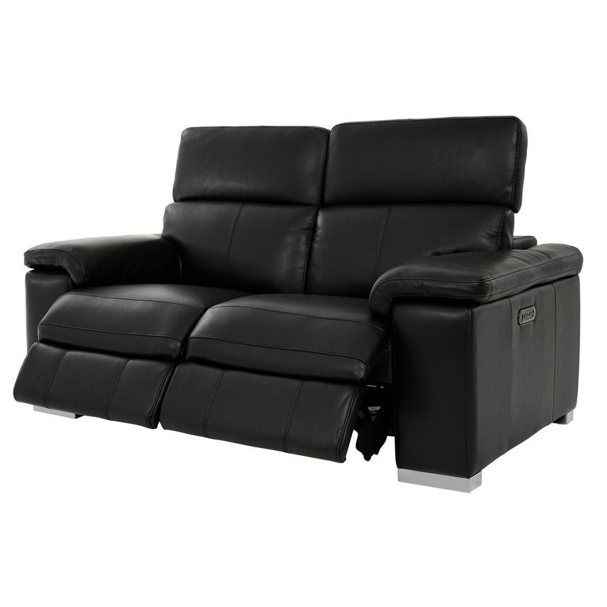 Charlie Black Leather Power Reclining Loveseat  alternate image, 3 of 11 images.