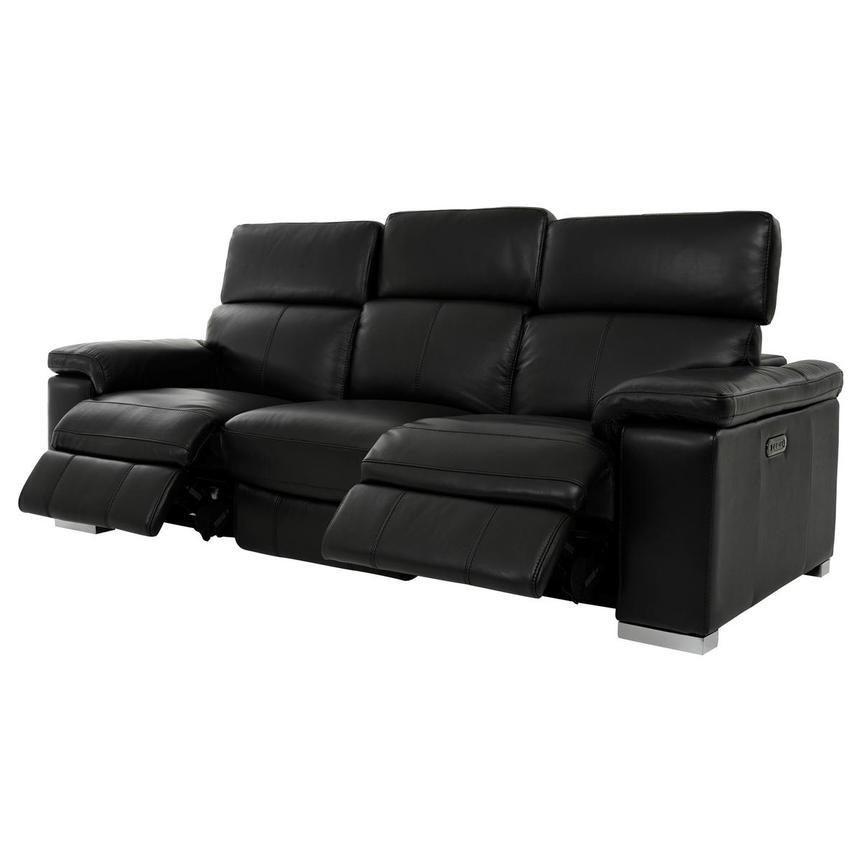 Charlie Black Leather Power Reclining Sofa  alternate image, 3 of 11 images.