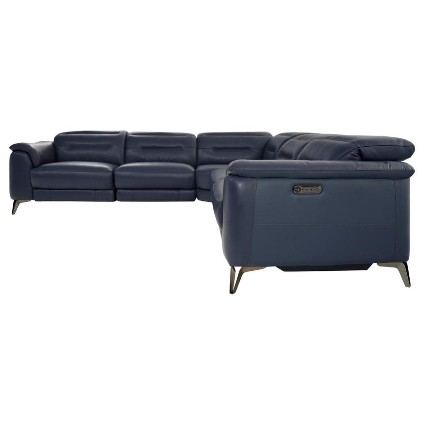 Anabel Blue Leather Power Reclining Sectional  alternate image, 3 of 8 images.