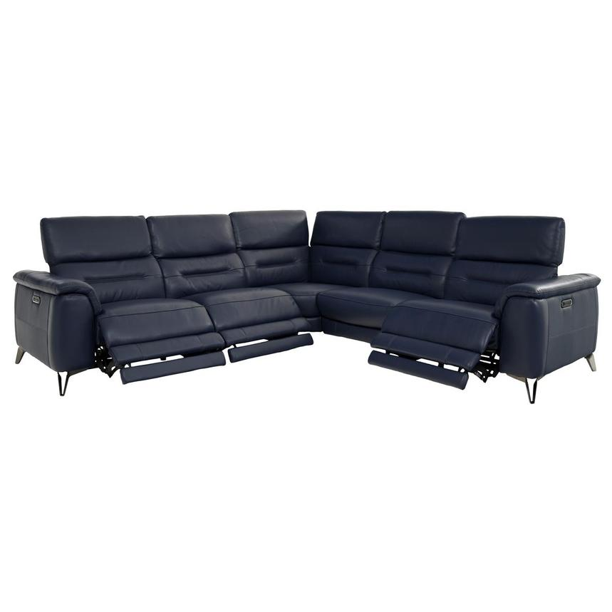 Anabel Blue Leather Power Reclining Sectional  alternate image, 2 of 9 images.