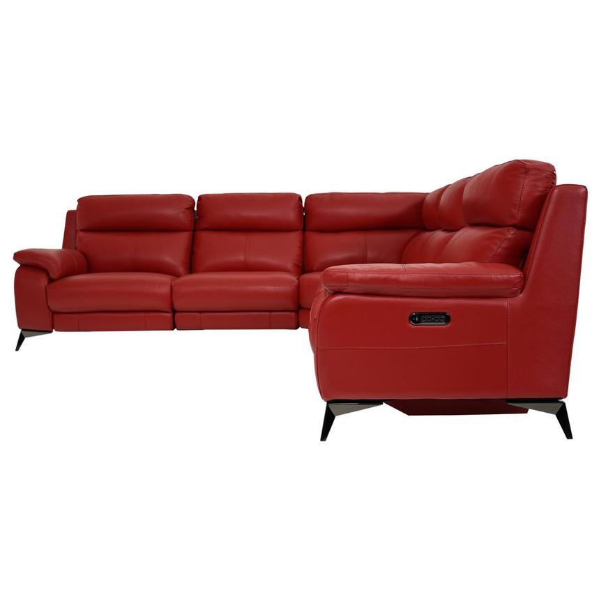 Barry Red Leather Power Reclining Sectional  alternate image, 3 of 8 images.
