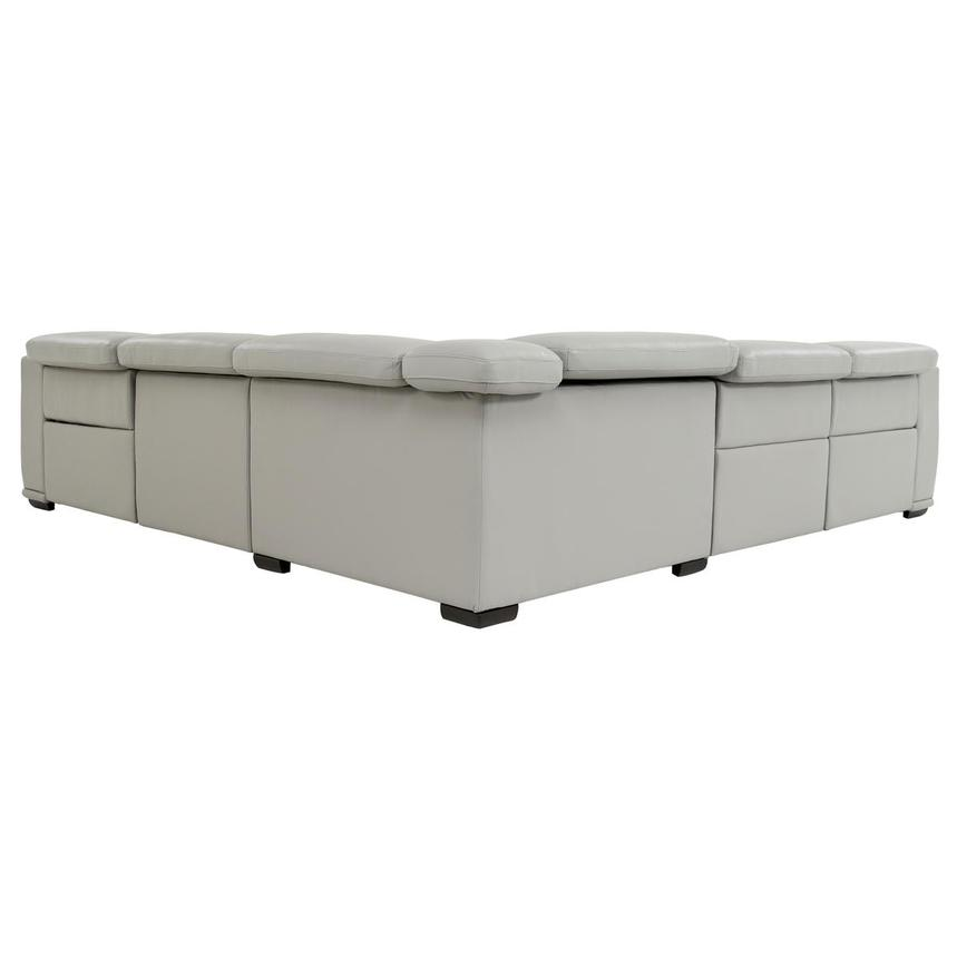 Davis 2.0 Light Gray Leather Power Reclining Sectional  alternate image, 4 of 10 images.