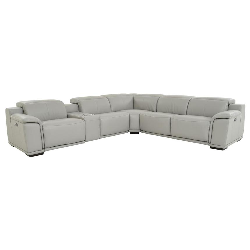 Davis 2 0 Light Gray Leather Reclining Sectional