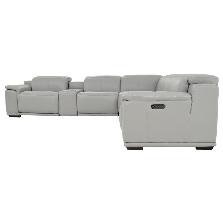 Davis 2.0 Light Gray Leather Power Reclining Sectional  alternate image, 3 of 11 images.