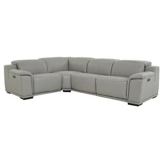 Davis 2.0 Light Gray Power Motion Leather Sofa w/Right & Left Recliners