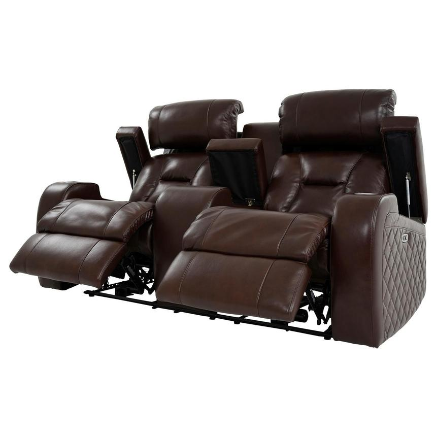 Gio Brown Leather Power Reclining Sofa w/Console  alternate image, 3 of 14 images.
