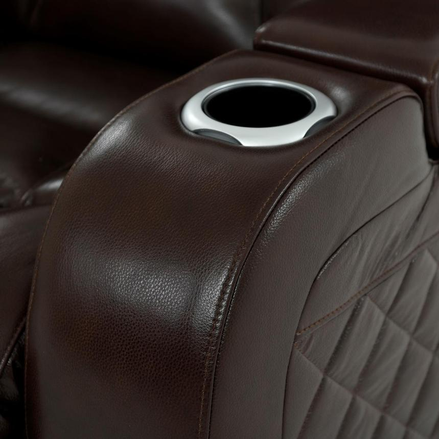 Gio Brown Leather Power Reclining Sofa w/Console  alternate image, 8 of 14 images.