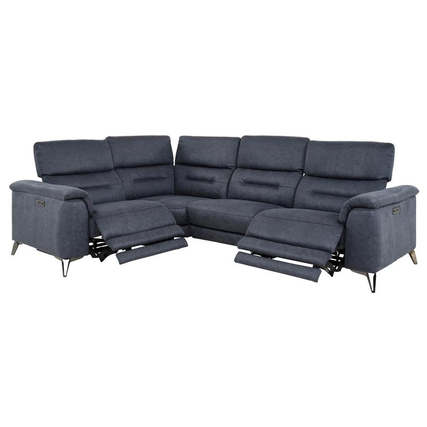 Claribel II Blue Power Reclining Sectional  alternate image, 2 of 11 images.