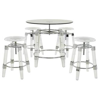 Julie Clear 5-Piece Counter Dining Set