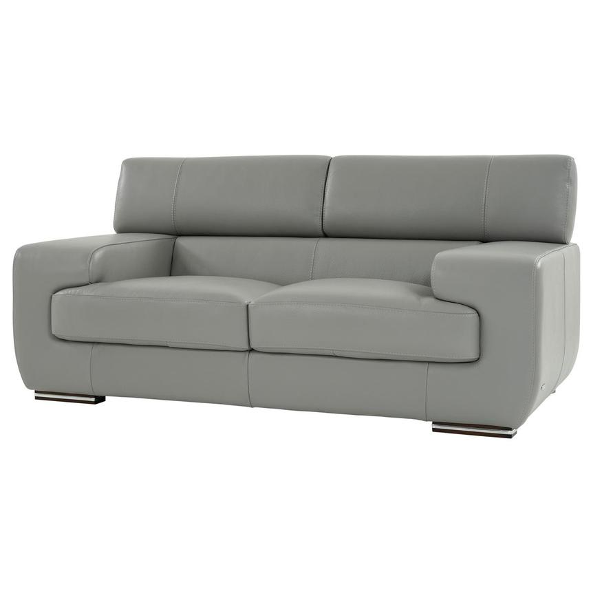 Grace Light Gray Leather Loveseat  alternate image, 3 of 9 images.